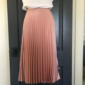 Zara Blogger Fave Shiny Pink Pleated Midi Skirt